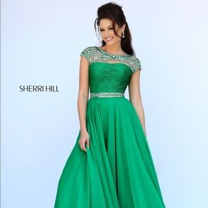 Green Princess Cut Sherri Hill dress